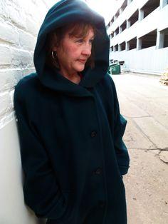 Green hooded wool full-length coat