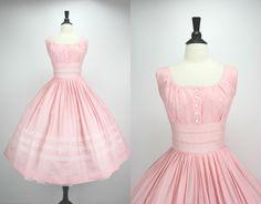 Vintage 50s Dress Pink Party Dress Full Skirt by swingkatsvintage, $145.00
