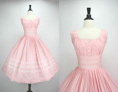 Vintage 50s Dress Pink Party Dress Full Skirt by swingkatsvintage, $145.00
