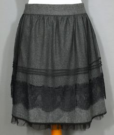 Rock Wolle Spitze Gr. XL 42 Romantic Tulle Grau Schwarz Vintage + Noa Noa 7f9abdb475