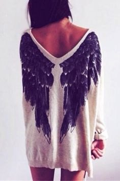 Wings Print Round Neck Long Sleeve Loose Sweater