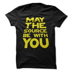 Great computer programmers create and alter great source code. When your job or hobby consists of creating greatness through source code, you have got some great responsibility. May the source be with you statement t-shirt for great programmers.