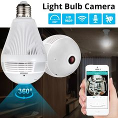 Panoramic Home Security LED Light Bulb Camera w/ 360 Degree Motion Sensing - Home security system -Wireless Panoramic Home Security LED Light Bulb Camera w/ 360 Degree Motion Sensing - Home security system - Home Security Devices, Home Security Tips, Wireless Home Security Systems, Security Alarm, Security Surveillance, Security Cameras For Home, House Security, Security Products, Surveillance System