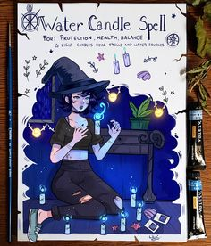 Spellbook : Water Candle Spell by larienne on DeviantArt Anime Comics, Witch Drawing, Witchcraft Spell Books, Anime Witch, Water Candle, Witchcraft For Beginners, Dibujos Cute, Candle Spells, Modern Witch