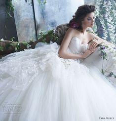 tara keely spring 2013 TK2300 bridal tulle ball gown pleated organza sweetheart natural waist petals chapel train