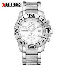 Men Luxury Full Steel Business Quartz Watch Casual Sport Watches Wristwatches