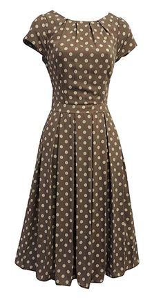 modest style New Ladies Polka Dot WWII Vtg style Land Girl Swing Tea Dress 1940s Fashion Women, 1940s Fashion Dresses, 1940s Dresses, Modest Dresses, Pretty Dresses, Vintage Dresses, Casual Dresses, Vintage Outfits, Dresses For Ladies