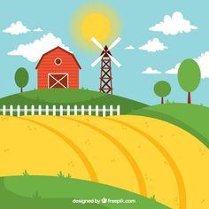 Paisagem da exploração agrícola com o ce... | Free Vector #Freepik #freevector #natureza #sol #vermelho #fazenda Barn Cake, Coffee Infographic, Animal Crafts For Kids, Barn Quilts, Animal Drawings, Farm Animals, Paper Dolls, Charlottes Web, Clip Art