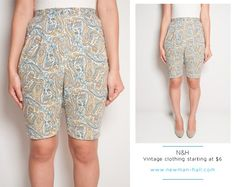 SALE  Vintage 60s Paisley High Waisted Shorts with by NewmanHall, $10.00