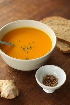Pumpkin soup with ginger and coriander by photo-copy Gluten Free Recipes, Vegan Recipes, Soup Starter, Hot Soup, Pumpkin Soup, Winter Food, Bon Appetit, Soup Recipes, Recipies