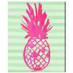 Oliver Gal 'Pink Pineapple' Hand Stretched Canvas Wall Art (135 AUD) ❤ liked on Polyvore featuring home, home decor, wall art, backgrounds, decor, borders, filler, picture frame, pink and pink flamingo wall art