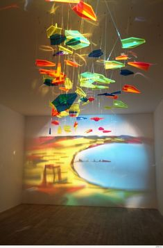 Light and Shadow by Rashad Alakbarov #installation - Art made by shining light through suspended colored glass