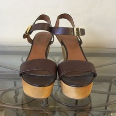 """8461044086344 NWT Banana Republic Wood Wedge Sandals US 10 A seventies """"flatform"""" is the  perfect"""