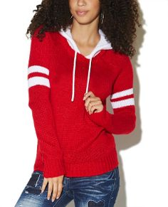 Stripe Arms Hooded Sweater   Wet Seal   LIPSTICK