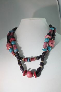 Bright Colored Two Strand Wood Bead Necklace by amyrigs on Etsy