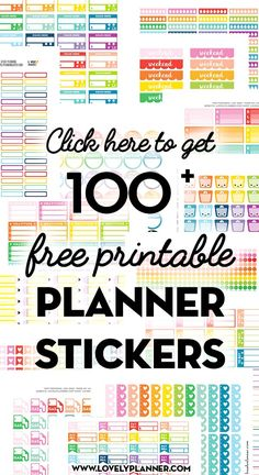 Free Planner Stickers More than 100 Free Printable Planner Stickers: functional planner stickers, weekly kits and cute planning stickers. Free Printable Planner Stickers, Planner Free, Cute Planner, Planner Layout, Happy Planner, Free Printables, Planner Diy, Planner Ideas, Stickers For Planners