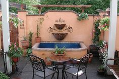 spanish courtyards | courtyard fountain spanish style courtyard with pergola ambient ...
