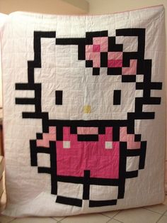 Hello Kitty quilt-- If I could sew I would do this to my daughter!
