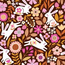 rabbits' wonderland custom fabric by mirabelleprint for sale on Spoonflower Pattern Illustration, Custom Fabric, Creative Business, Spoonflower, My Design, Craft Projects, Wonderland, Gift Wrapping, Quilts