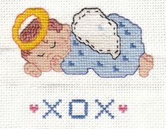 Angel baby square - counted cross stitch