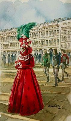 woman with masque. venice carnival. watercolor