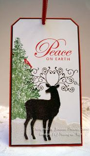 Stampin' Up Christmas Deer tag or use Winter Woodland cartridge page 56.