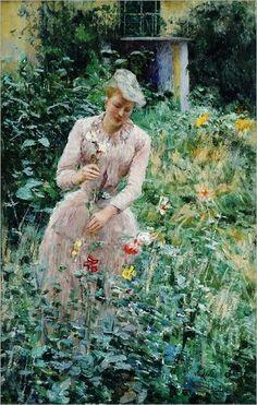 Belgian artist Emile Claus (1849-1924)-lady in the garden ...