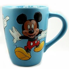 """Dancing Mickey Mouse Coffee Mug 18oz Cup Blue Bubbles Disney Store Brand: Disney Capacity: 18 oz Measures: 4 3/4"""" x 3 3/4"""" (12.06cm x 9.52cm) Color: Blue Character: Mickey Mouse In pre-owned condition"""