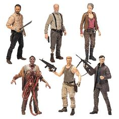 Celebrate heroes and villains while creating new adventures with the Walking Dead TV Series 6 Action Figure Set, or just pose them in interesting positions and place them with the rest of your TWD collectibles.  Fan-favorite characters from The Walking Dead are now available as 5-inch action f