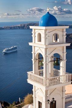 "santoriniisland:  "" (via Imerovigli Bell Tower,Santorini,Creece | Santorini, Greece)  ""  Στο Ημεροβίγλι  το καμπαναριό  κι η ψυχή σαλεύει  σαν άγριο θεριό…"