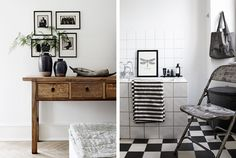 Rustic wood. Black and white bathroom. design attractor: Raw Wood in a Danish Home