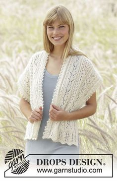 "Stole with #lace pattern and small cables in ""Alpaca"" and ""Kid-Silk"" Free #knitting pattern by DROPS Design"