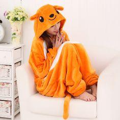 Kigurumi Cute Animal Orange Kangaroo Velvet Fluffy Hooded Autumn and Winter Onesies Pajamas Adult Sleepwear $64.00  #Lovejoynet #Animal #Sleepwear