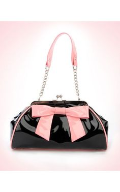 Bow Handbag in Black Vinyl with Pink Vinyl Trim