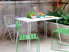 Fermob Surprising colourful contemporary iron garden chair, designed by Harald Guggenbichler