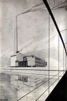 Esso Power Station, Kolin, Czech Republic, by Jaroslav Fragner Czech Republic, Louvre, Functionalism, Architecture, Building, Artwork, Modernism, Presentation, Industrial