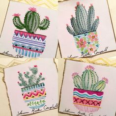 Watercolor mini cactus paintings for cards by Laura Kirste Campbell - Watercolor painting - Cactus Cactus Drawing, Cactus Painting, Watercolor Cactus, Cactus Art, Cactus Flower, Painting & Drawing, Watercolor Paintings, Cactus Plants, Mini Paintings
