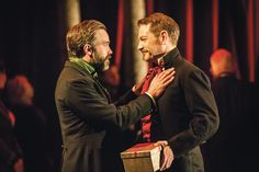 "Hadley Fraser as Polixenes and Kenneth Branagh as Leontes in ""The Winter's Tale"" (""Zimowa opowieść) at The Garrick Theatre. #KennethBranagh #JudiDench #Shakespeare"