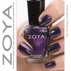 """""""Zoya Nail Polish in """"Julieanne"""" can be best described as: Unique purple sparkles with gold, peach and yellow-green duochrome in a dark blue-purple base. This dark and eye catching shade is a must have for any rocker chick! Purple Nail Polish, Zoya Nail Polish, Nail Polish Colors, Nail Polishes, Manicures, Cute Nails, Pretty Nails, Romantic Nails, Purple Sparkle"""
