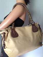 Fossil Bag Purse Large Canvas Faux Leather Butter Yellow  Brown Designer Fahion