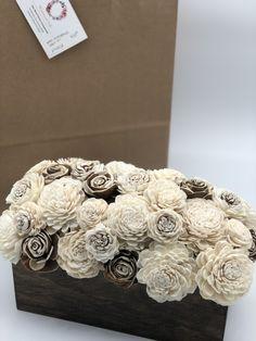 House + Home Sola Wood Flowers, Paper Flowers Diy, Alternative Wedding Decorations, Wood Centerpieces, Flower Wall Decor, Diy Pins, Wood Boxes, Flower Arrangements, Wedding Flowers