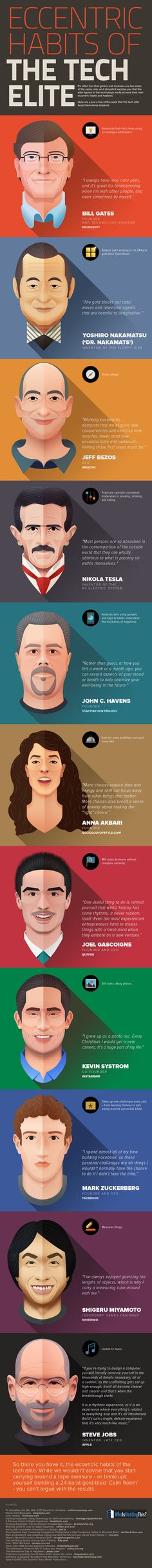 11 Eccentric Habits of the Tech Elite - http://dashburst.com/infographic/eccentric-habits-of-tech-elite/