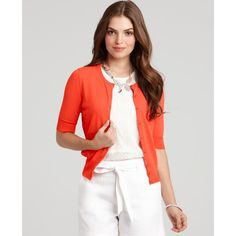 Ann Taylor Summer Cardigan (77 CAD) ❤ liked on Polyvore featuring tops, cardigans, bright clementine, summer cardigan, button front cardigan, white summer cardigan, crew neck cardigan and white short sleeve cardigan