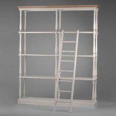 Biblioth�que GM en Bois patin� Blanc - L180xP40xH220cm SERENADE Ladder Decor, Bookcase, Shelves, Home Decor, Weathered Wood, White People, Glass House, Shelving, Decoration Home