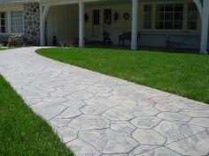 Stamped Concrete front walk Random Stone pattern with Sandy Buff color Concrete Color, Concrete Stone, Backyard Patio Designs, Backyard Landscaping, Stamped Concrete Walkway, Paving Ideas, Concrete Projects, Back Patio, Exterior