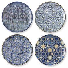 Hanukkah Blue Mosaic Salad Plates, Set of 4, Mixed