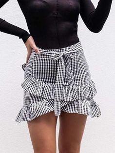 Monochrome Gingham Cross Ruffle Tie Waist Mini Skirt