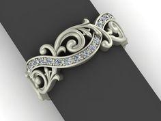 Baroque Style Swirling Eternity Ring in 14K by AdagioCustomDesigns, $1185.00