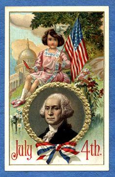 July 1913 George Washington US Capitol Girl Flag Fireworks Vintage Postcard I Love America, God Bless America, Happy 4 Of July, Fourth Of July, Patriotic Images, July 4th Images, Doodle, Illustrations, Vintage Greeting Cards