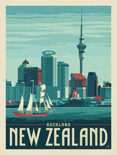 Auckland, Nuova Zelanda by Anderson Design Group Japon Illustration, Travel Illustration, Art Et Design, Pub Vintage, Auckland New Zealand, National Park Posters, Vintage Travel Posters, Australia Travel, South Australia